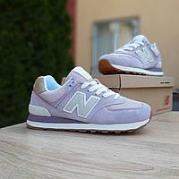 Женские кроссовки в стиле New Balance 574   cиреневые серая N, фото 1