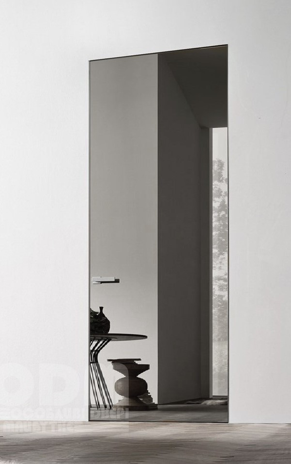 Двери скрытого монтажа с зеркалом графит
