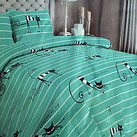 """""""Коты"""" Комплект постельного белья полуторный 150/210 см, нав-ки 70/70, ткань сатин, 100% состоит из хлопка"""