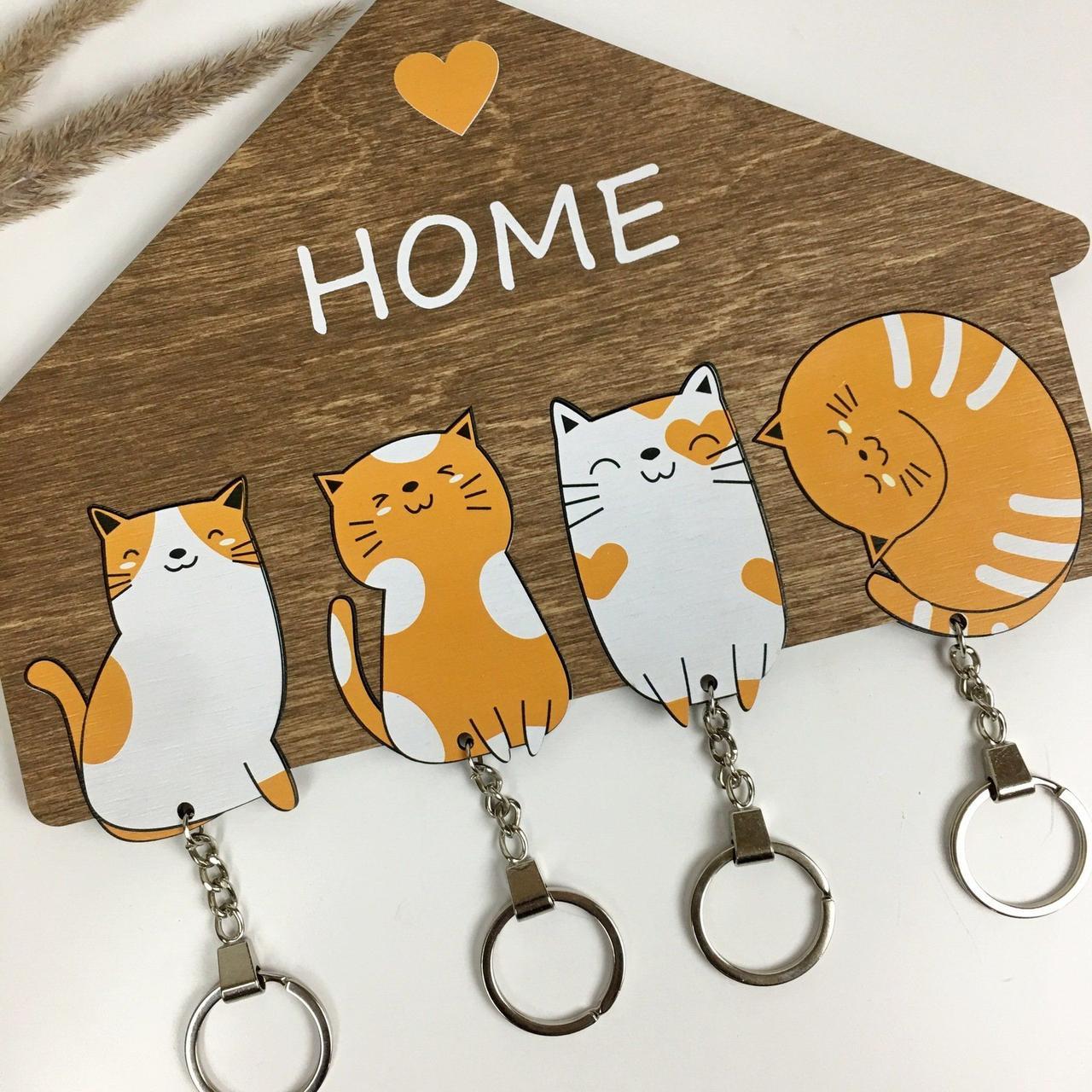 Ключница настенная, оригинальная деревянная ключница с милыми котиками
