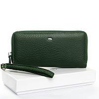 Зеленый кошелек W38 dark-green женский из натуральной кожи на молнии, фото 1