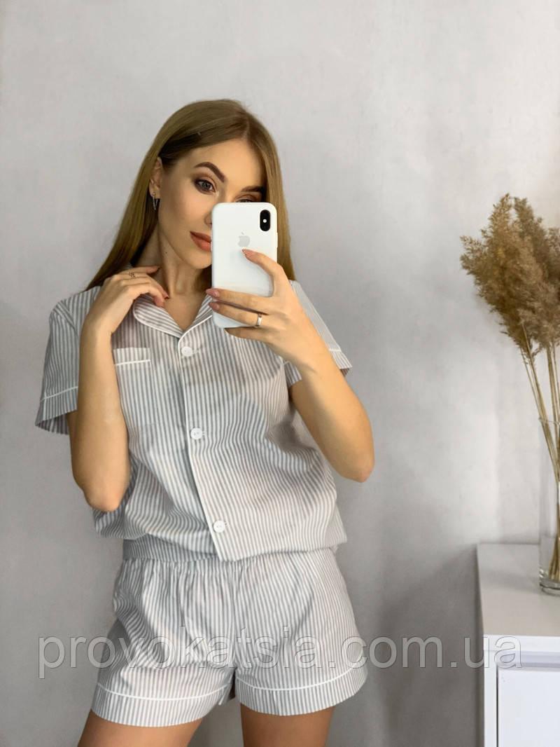 Женская хлопковая пижама в серую полосочку