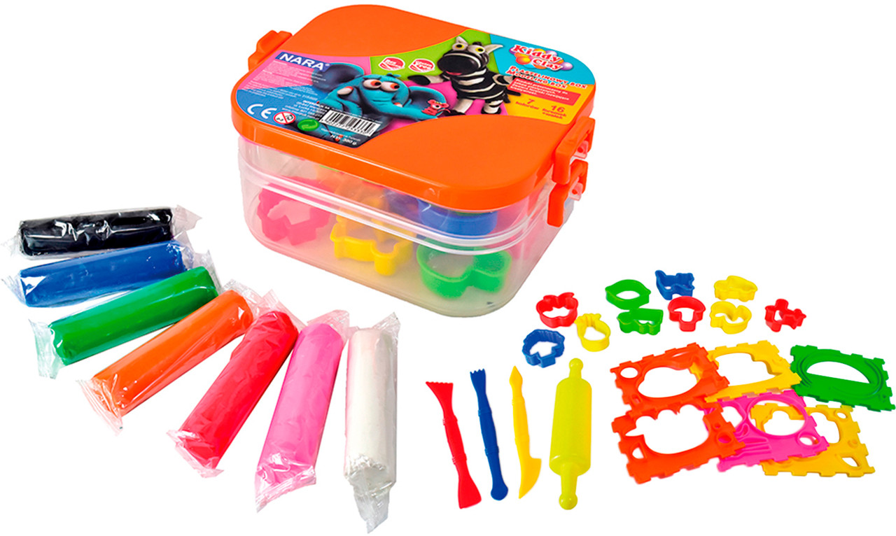 Набор пластилина 7 цветов пластилина, 3 стека, 10  маленьких и 6 больших формочек, скалка, Nara