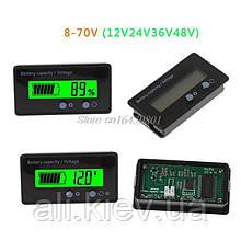 Тестер напруги ємності вольтметр  індикатор 8-70 В LCD кислотний літієвий, li-fepo4 акумулятор. Програмований