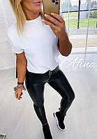 Женские стильные лосины из эко-кожи Норма, фото 1