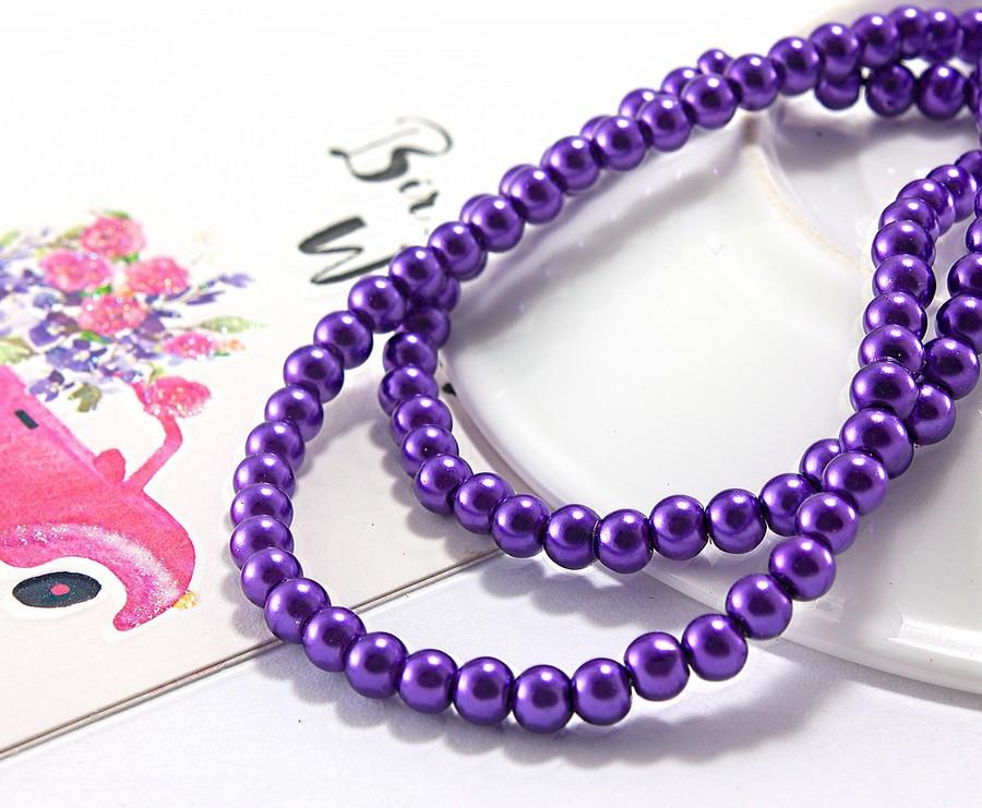 Жемчуг стеклянный  Ø4мм, упаковка ≈ 150 штшт, цвет - Фиолетовый