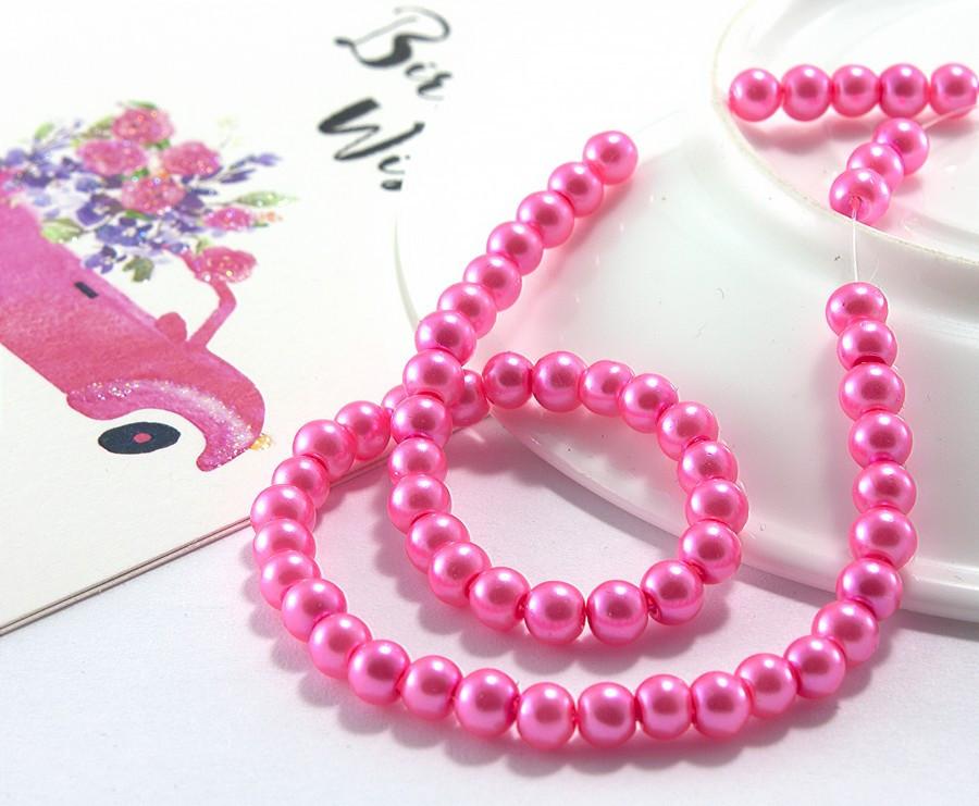 Жемчуг стеклянный  Ø4мм, упаковка ≈ 150 шт, цвет - Розовый