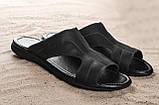 Мужские шлепанцы кожаные летние черные Yuves Z5, фото 4
