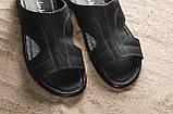 Мужские шлепанцы кожаные летние черные Yuves Z5, фото 5