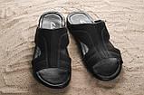 Мужские шлепанцы кожаные летние черные Yuves Z5, фото 6
