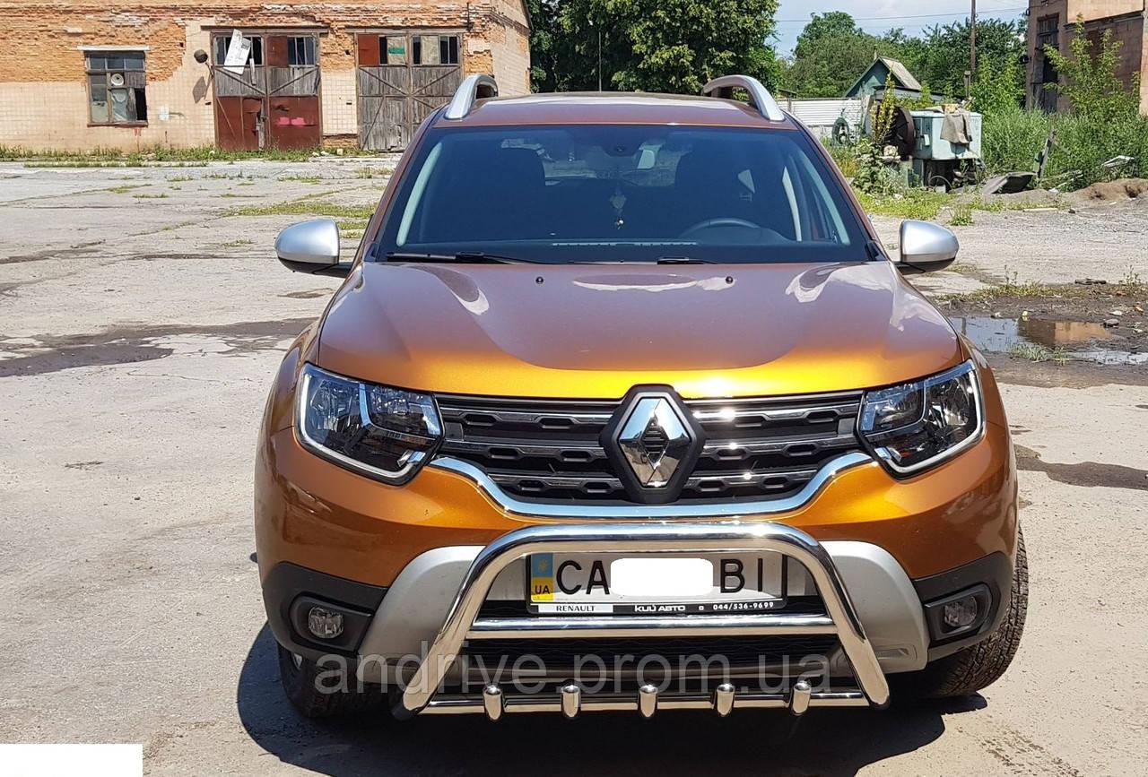 Кенгурятник с грилем (защита переднего бампера) Renault Duster 2018+