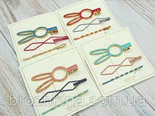 Набор заколок для волос металл/эмаль 4 набор/уп.