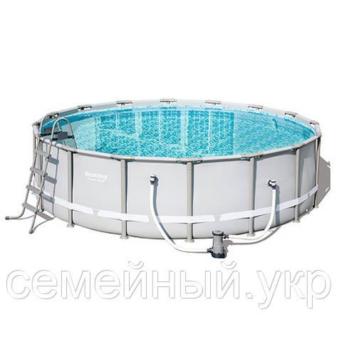 Каркасный бассейн Bestway 56451. Диаметр: 488 см. Насос-фильтр, лестница. Оцинкованные стальные трубы, фото 2