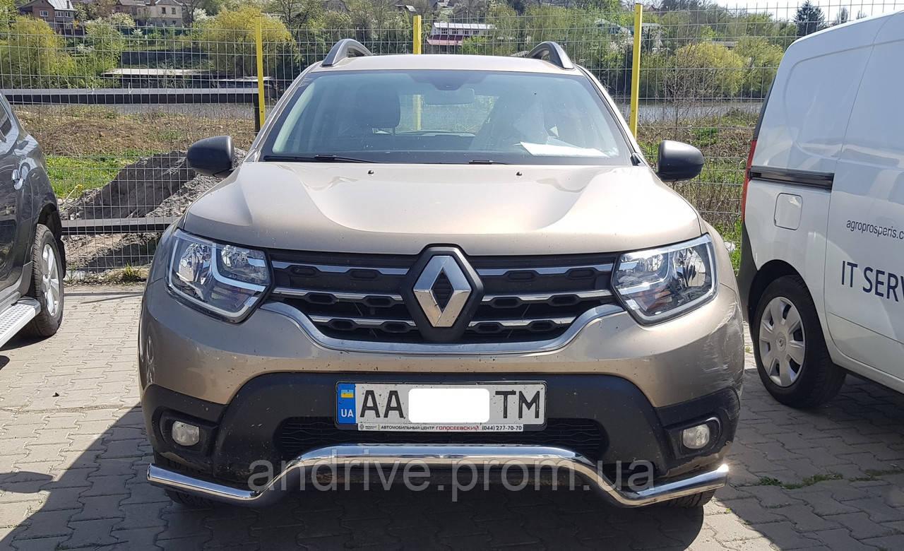 Защита переднего бампера (ус одинарный) Renault Duster 2018+