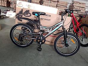 """Спортивный горный велосипед Crosser Smart 20 дюймов размер рамы 12""""  BLACK BLUE, фото 2"""