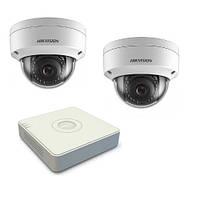 Комплект видеонаблюдения на 2-е антивандальные купольные 2Мп IP камеры с регистратором