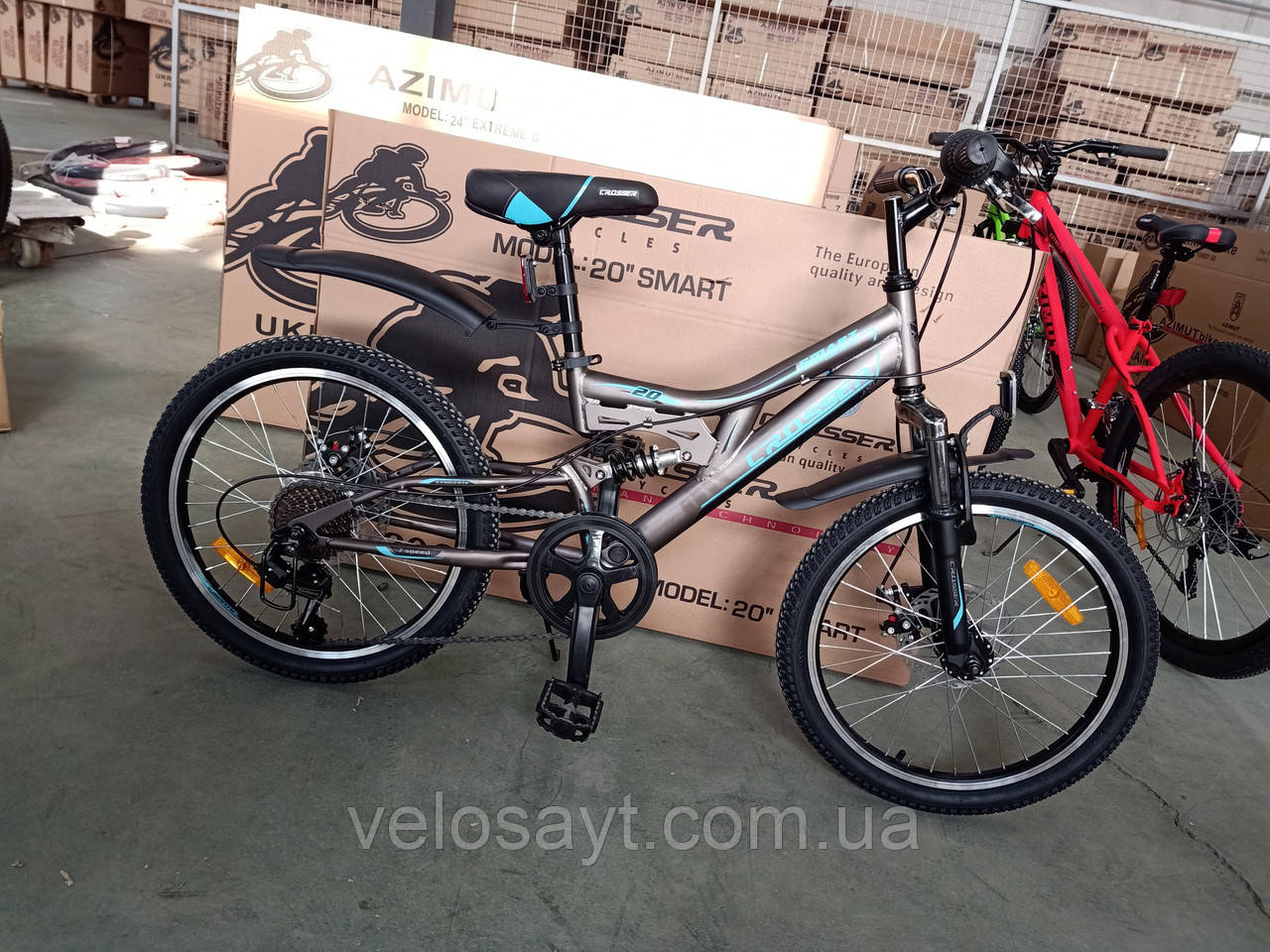 Спортивный горный велосипед Crosser Smart 20 дюймов размер рамы 12  GREY
