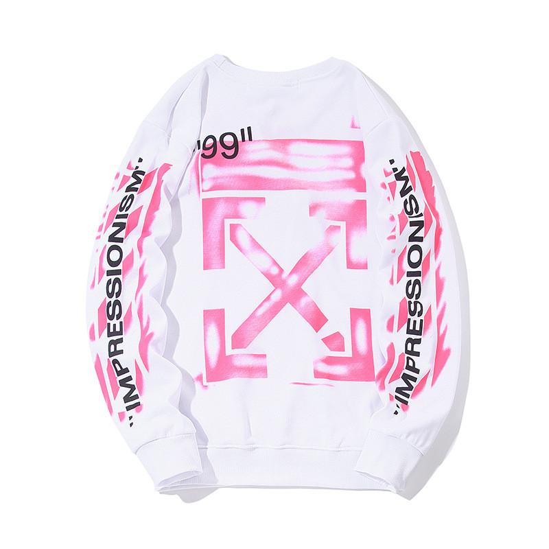 Світшот Off white білий з рожевим принтом (штани, кофта чоловіча жіноча)