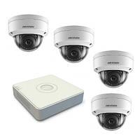 Комплект видеонаблюдения на 4-е антивандальные купольные 2Мп IP камеры с регистратором