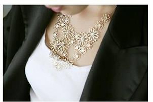 Многослойное Золотое ажурное ожерелье лимонного    золота с цветами для   женщин
