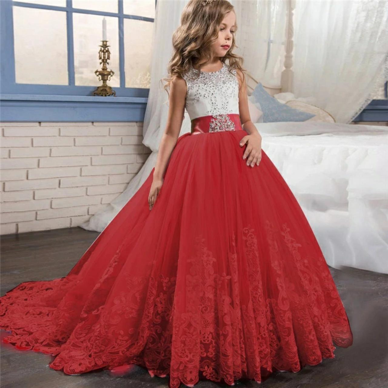 Нарядное детское платье в пол на девочку 6-8 лет бело-красное