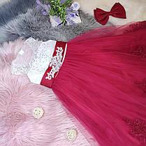 Нарядное детское платье в пол на девочку 6-8 лет бело-красное, фото 3
