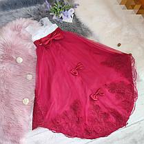 Нарядное детское платье в пол на девочку 6-8 лет бело-красное, фото 2