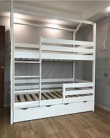 """Кровать-домик двухъярусная деревянная """"Томас"""" массив дерева"""