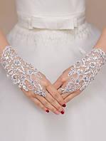 Белые перчатки без пальцев для невесты, фото 1
