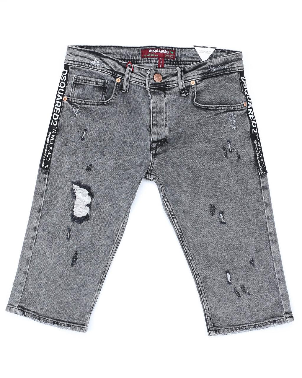 Бриджи джинс серый MARIO DSQUARED рваные FUME 31(Р) 0107