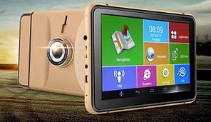 Навигатор Android GPS + регистратор 7d IPS 4 ядра+ 8gb+Wi-Fi+Bluetooth+AV+512ddr цвет золото