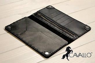 Мужской портмоне из натуральной кожи с отделением на молнии Cavallo™ Crazy Horse Classic, черный C0003