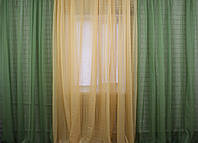 Комплект из шифона, декоративная гардина. Цвет оливковый с янтарным 002дк