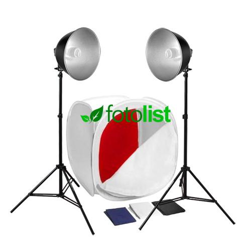 Набор для предметной съемки Visico FL-102, 2x30w, 300 Вт, лайткуб 60х60х60см, 4 фона