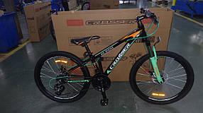 """Подростковый горный велосипед Crosser Boy 24 дюймов размер рамы 13"""" BLACK-GREEN"""