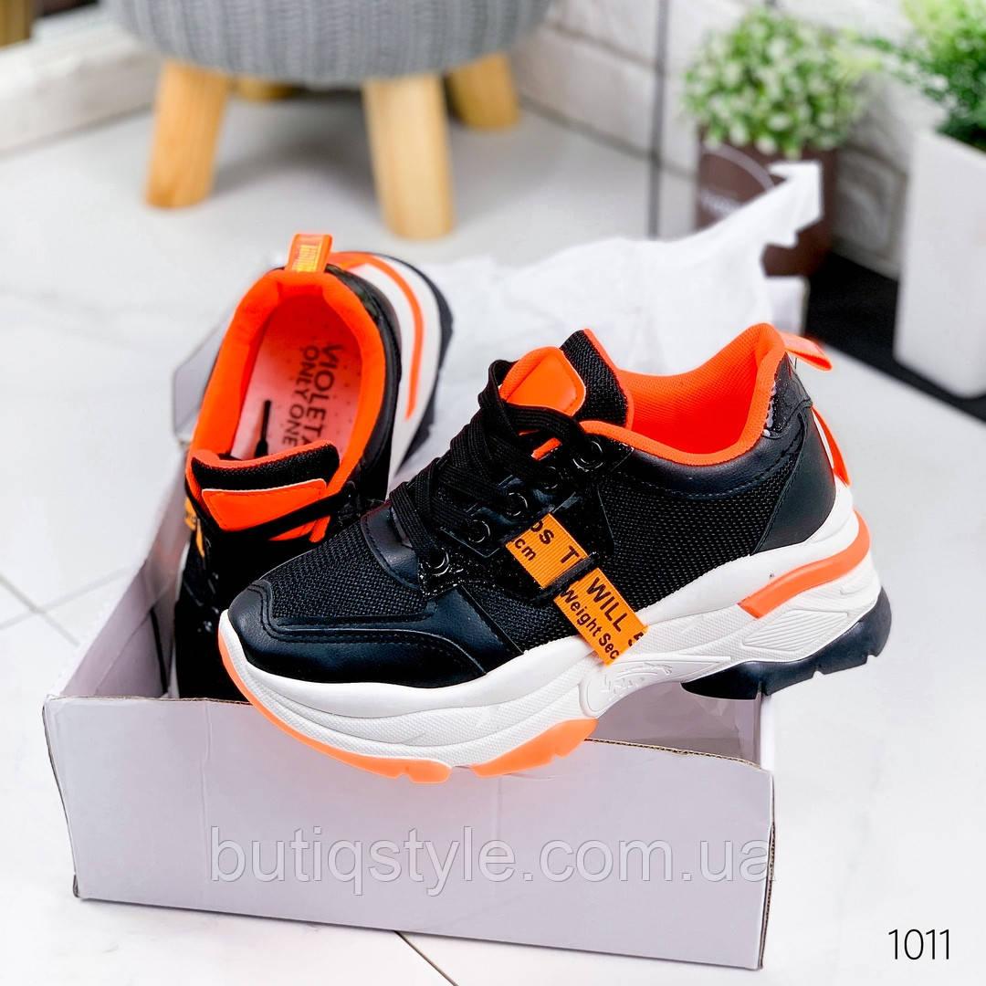 Женские кроссовки черные с оранжевым эко-кожа + текстиль