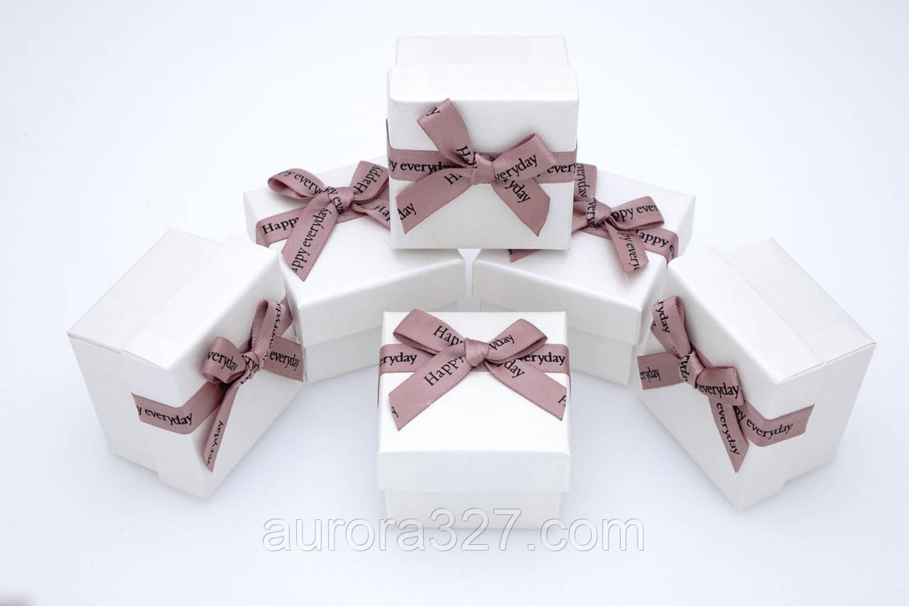 """Бумажная коробка для колец """"Happy"""" Белый 5х5х3,5см"""