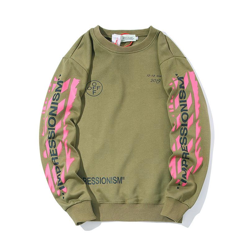 Свитшот Off white зелёный с розовым принтом (толстовка, кофта мужская женская)