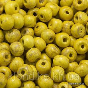 Бусины Деревянные, Окрашенные, Круглые, 7х6 мм, Цвет: Желтый (450шт/50г)