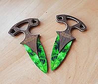 Деревянные ножи тычки Shadow daggers из игры CS:GO (КС:ГО) изумрудные волны