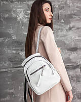Маленький рюкзак М265 white белая сумка трансформер из натуральной кожи