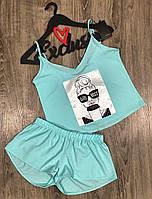 Пижамы летние с рисунками, комплект майка шорты.
