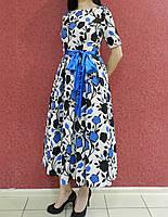 Нарядное яркое платье миди, с цветочным принтом бело-синее, с пышной юбкой, вечернее, на свадьбу, на выпускной