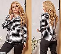 Классическая женская блузка в полоску размеры 50-56 арт 0167