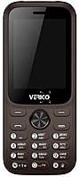 Кнопочный телефон черный с большим экраном, камерой и фонариком на 2 сим карты Verico Carbon M242 Brown