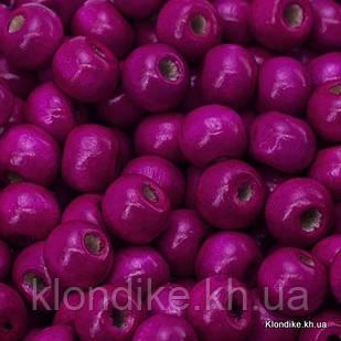 Бусины Деревянные, Окрашенные, Круглые, 7х6 мм, Цвет: Розовый (450шт/50г)