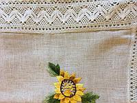 """Скатертина сірий  льон. ,,Соняхи"""" на овальний стіл ручна вишивка 220*140"""