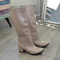 Сапоги зимние кожаные женские на невысоком каблуке, цвет визон. 37 размер