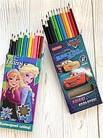 Цветные карандаши CARS & FROZEN, 12 цветов