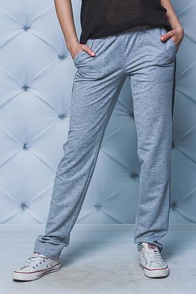 Спортивные штаны женские с лампасом светло-серые  . Есть большие размеры!, фото 2